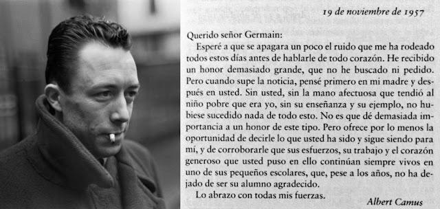 Camus, carta, el club de los libros perdidos, maestro, Nobel de Literatura, profesor,