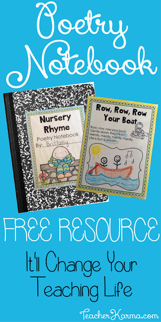 FREE Poetry Notebook Resource for practicing phonics, fluency, sight words, and comprehension. TeacherKarma.com
