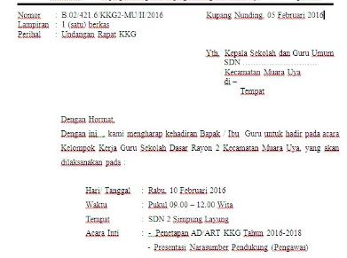 Contoh Surat Undangan Rapat dari KKG untuk Persiapan O2SN