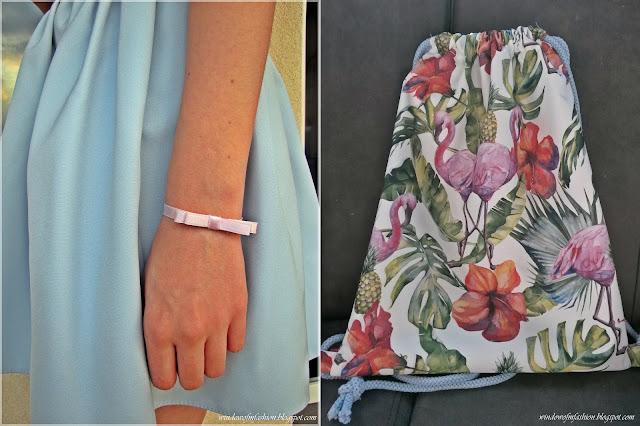 Bransoletka z podwójną kokardką oraz plecako- worek z flamingami