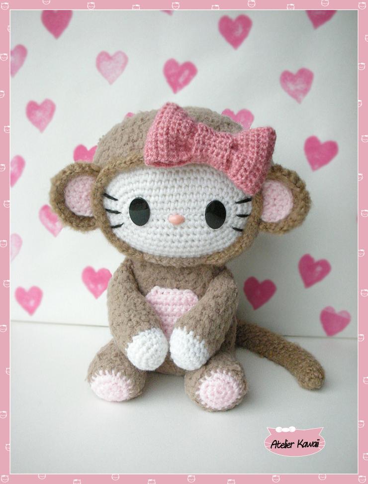 Häkelblog - Täglich neue Anleitungen: Hello Kitty Affe -Häkelanleitung