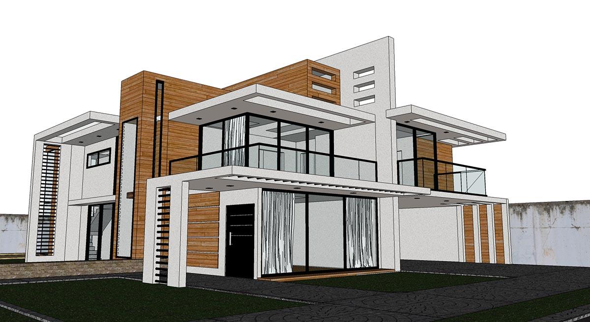 SKETCHUP TEXTURE: Free sketchup model modern villa #45 and