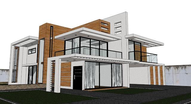 Sketchup texture free sketchup model modern villa 45 and for Model villa moderne