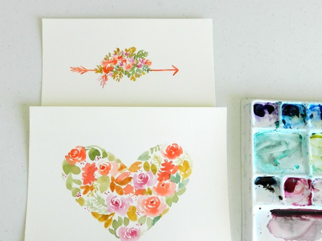 Watercolor Floral Heart and Arrow by Elise Engh