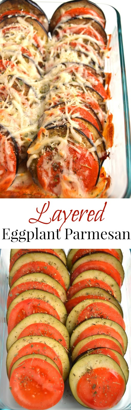Layered Eggplant Parmesan is a healthier and simpler take on the traditional recipe with stacked tomatoes and eggplant baked with Parmesan and mozzarella cheese, garlic and Italian spices! www.nutritionistreviews.com