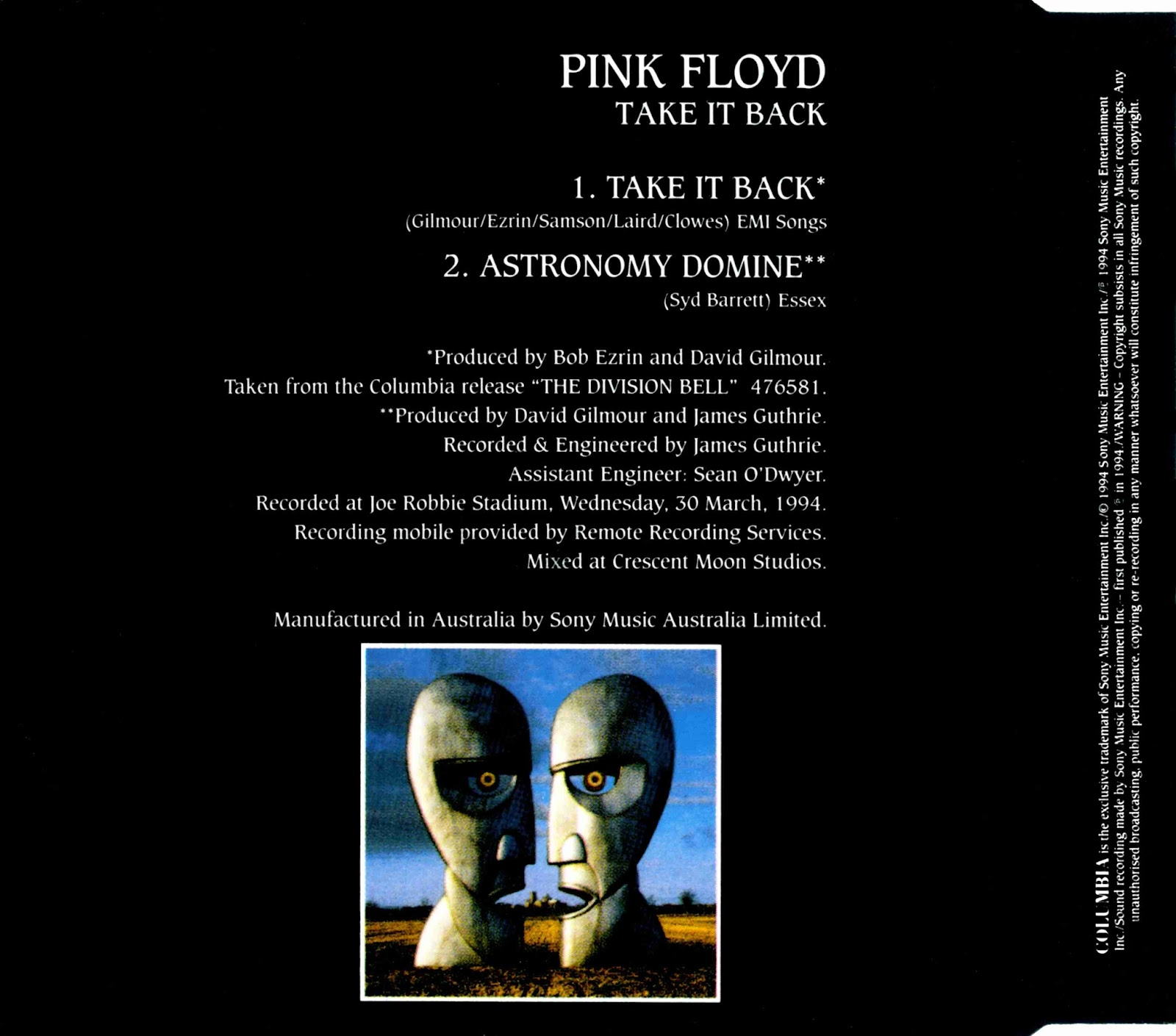 Pink Floyd Ilustrado: 1994 Take It Back - C.D Single