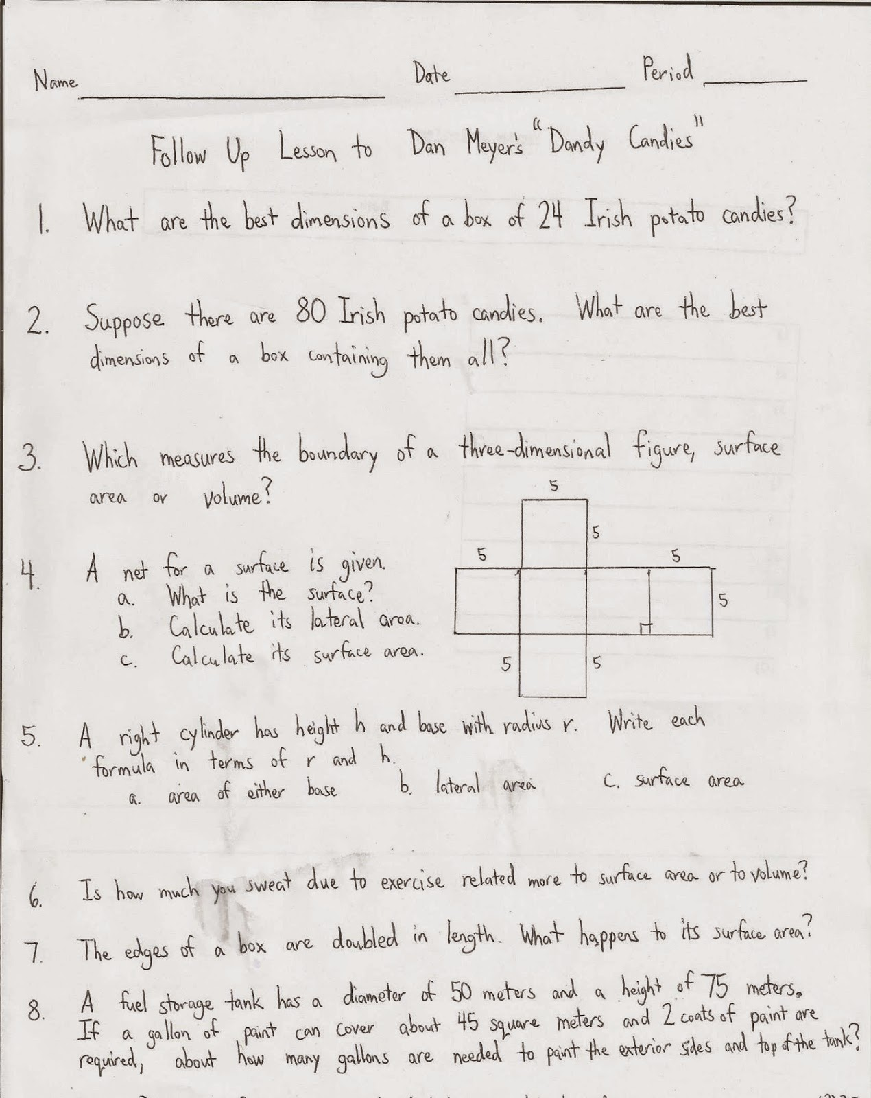 Geometry Common Core Style Lesson 10 1 Surface Areas Of