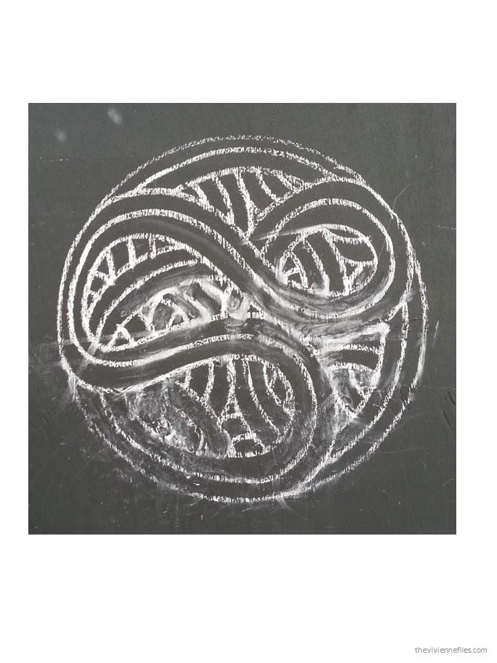Epic Paris street art chalk drawn Celtic motif circle