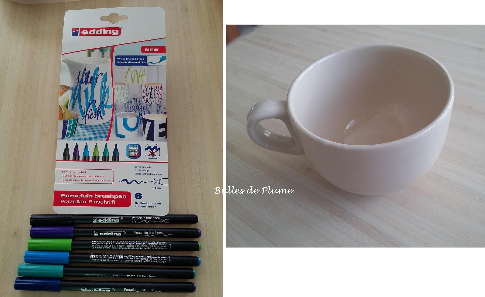 bulles de plume diy mug d cor avec feutres pour porcelaine edding france. Black Bedroom Furniture Sets. Home Design Ideas