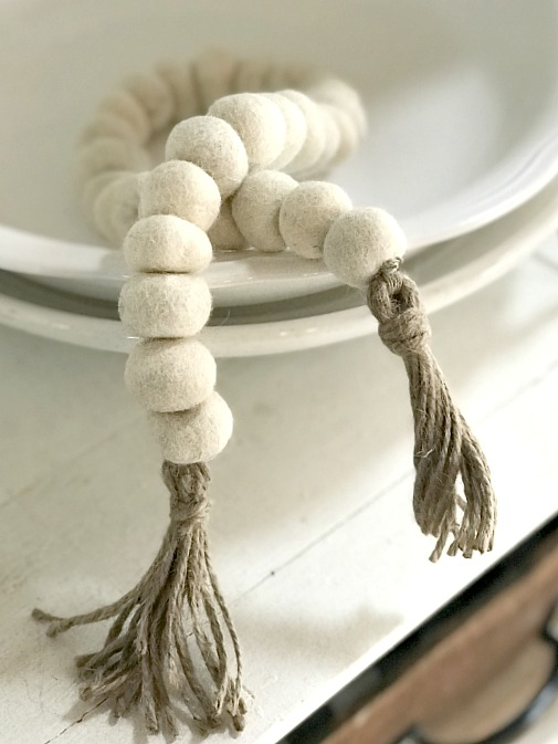 Make your own Felted Wool Beaded Garland with jute tassels