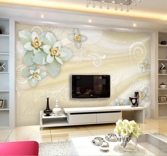 Tranh 3d dán tường hoa trang sức phòng ngủ
