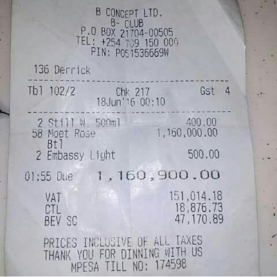 B-Club 1 Million Receipt