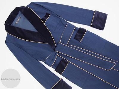 mens dark blue dressing gown silk velvet luxury long robe vintage style english gentleman