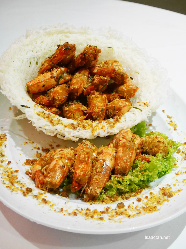 Golden Prawns with Spicy Minced Garlic
