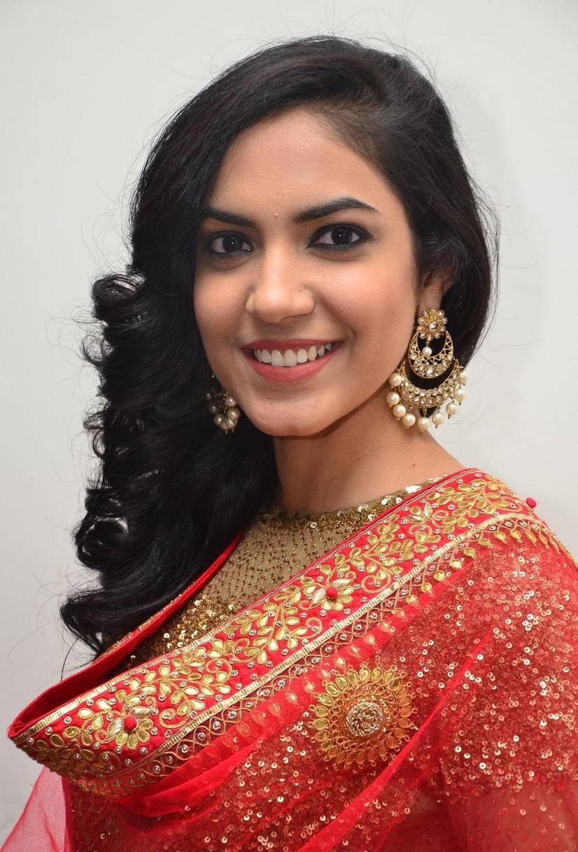 Tollywood Actress Ritu Varma Long Hair In Red Dress