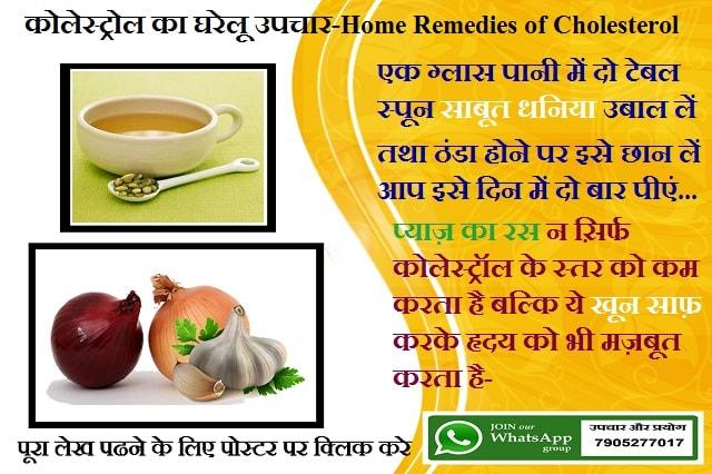 कोलेस्ट्रोल का घरेलू उपचार-Home Remedies of Cholesterol