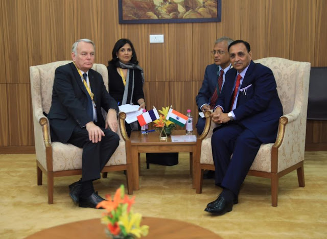Mr. Jean-Marc Ayrault, Minister of Foreign Affairs and International Development, France with Hon. Chief Minister of Gujarat