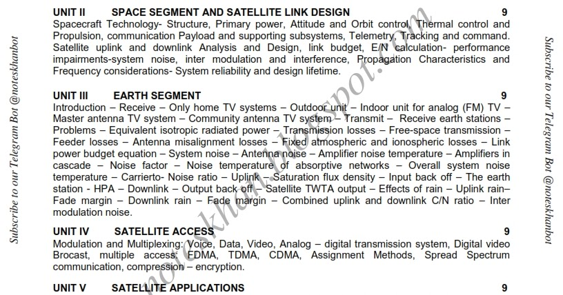 EC6004 Satellite Communication- Syllabus-Semester VII-ECE-BE