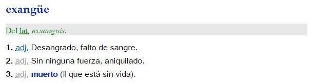 Exangüe - definición