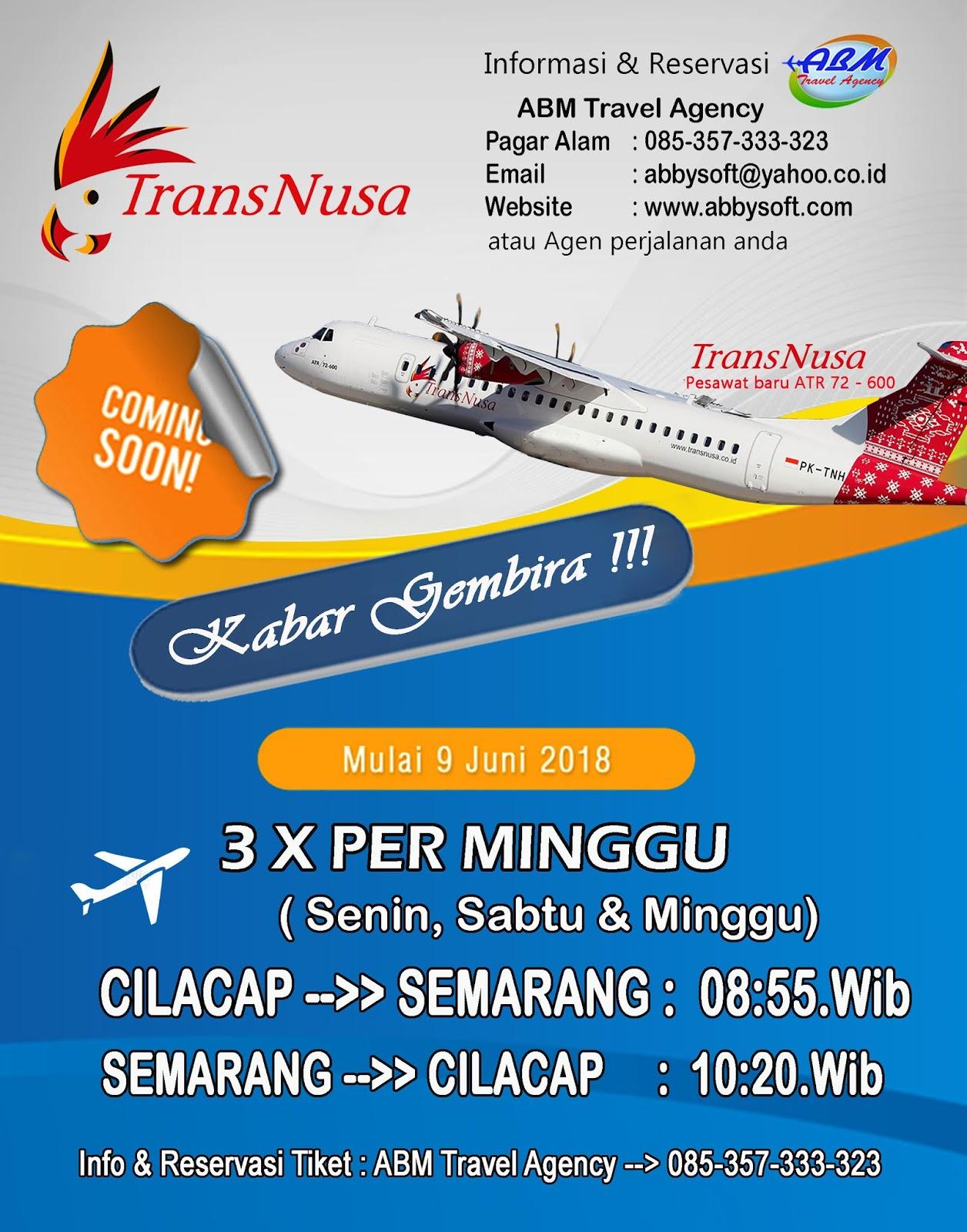 Maskapai penerbangan Trans Nusa bakal meramaikan pelayanan penerbangan di Bandara Udara Tunggul Wulung Cilacap Penerbangan perdana pesawat ini akan dimulai