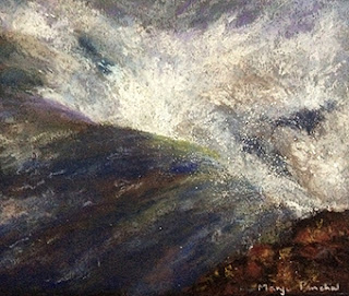Soft pastel painting of Gulfoss waterfall ( Iceland )