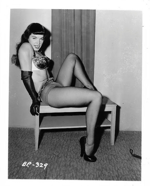 Bettie Page's black and white photos in bikini by Bunny