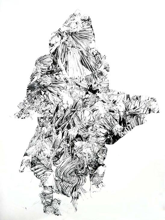 Anouk Griffioen Oerias, 2017  charcoal on linen 200 x 137 cm