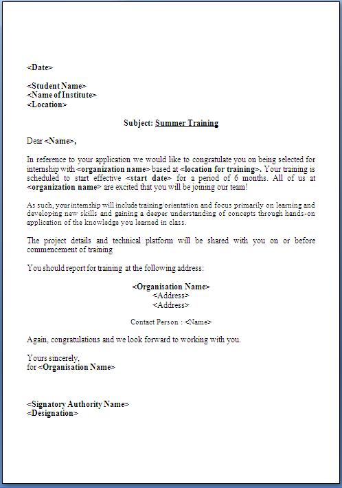 Summer Training Offer Letter Format
