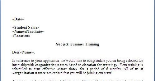 Summer+Training+Offer+Letter+Format Offer Letter Templates For Internship on employment counter vacation, executive job, decline job, settlement counter, wording for 401k, general employment,