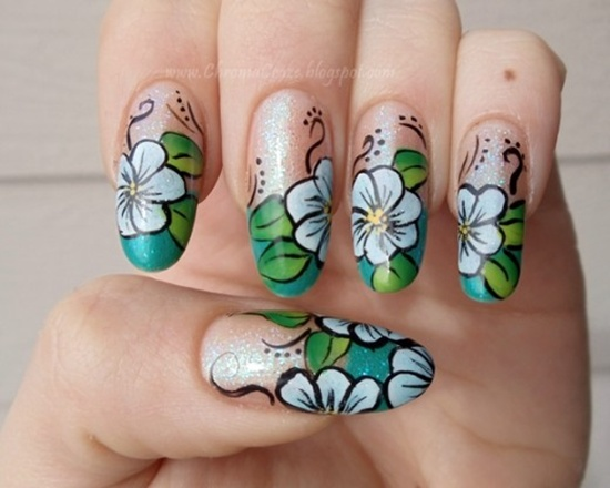 decorados con flores para uñas