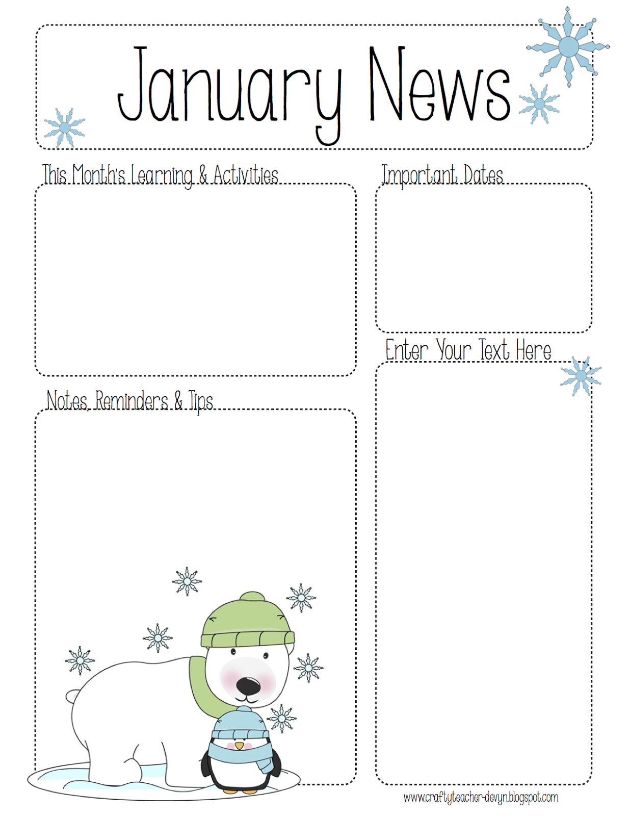 January Newsletter for ALL Grades! Preschool, Pre-K