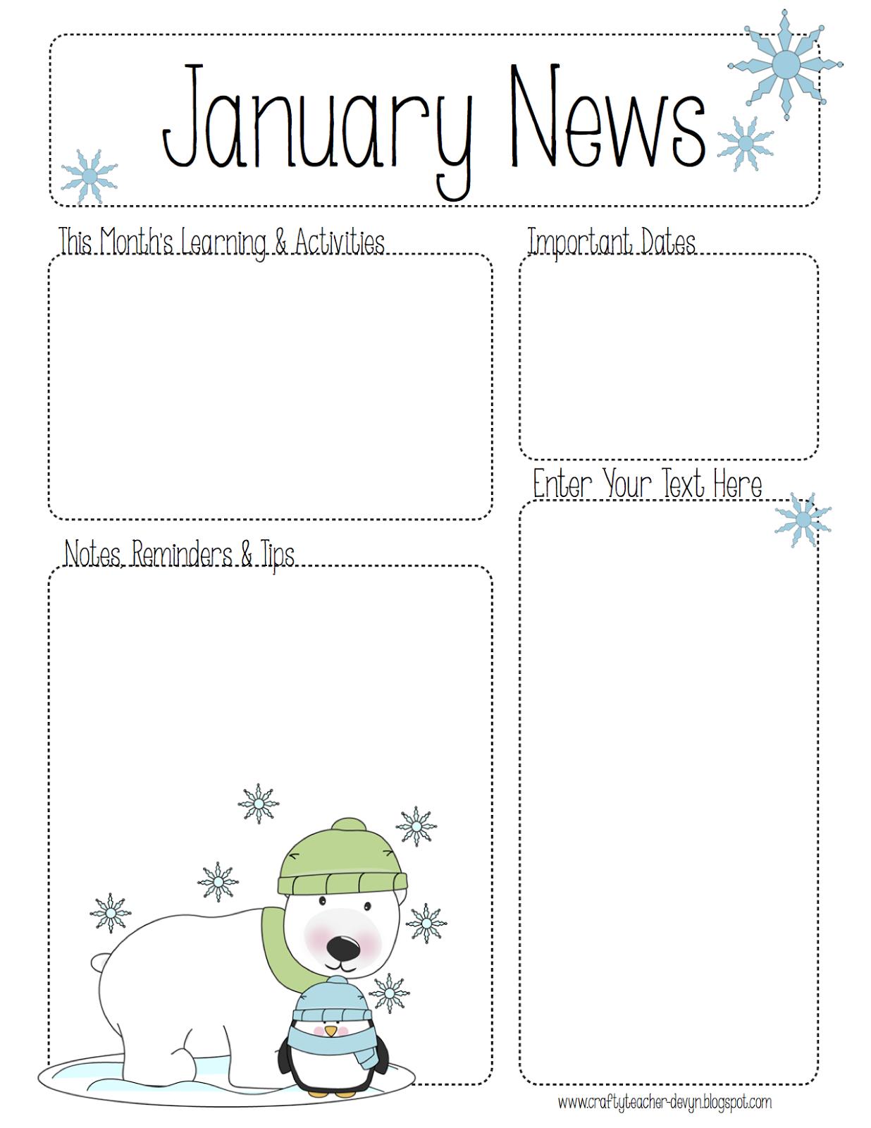 January Newsletter For All Grades Preschool Pre K