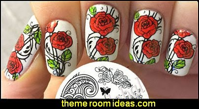 Arabesque Patterns & Peony Image Nail Art Stamping Template Image Plate