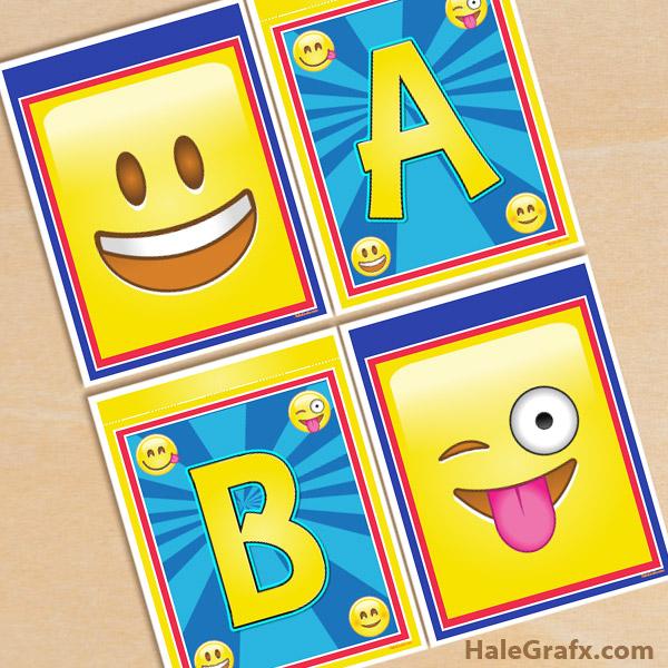 Banderines con Alfabeto Emoji para Imprimir Gratis.