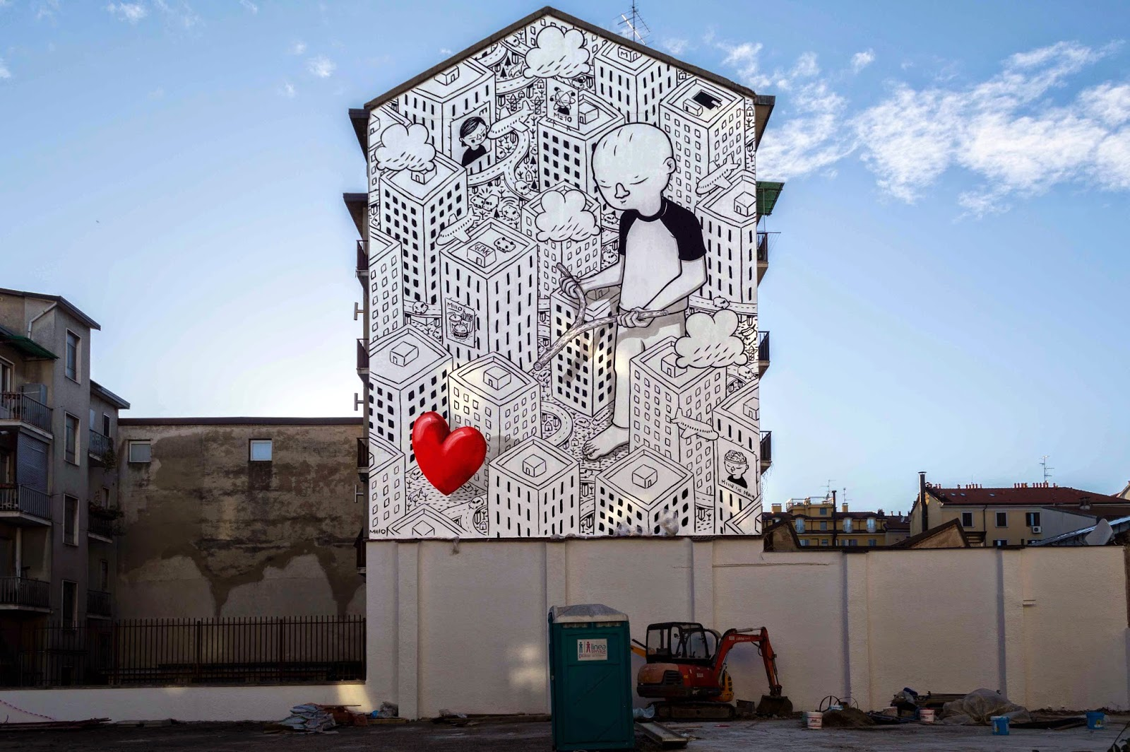 Constantly busy on the streets of Italy, Millo has now landed in planet Milan where he just finished working on yet another massive building.
