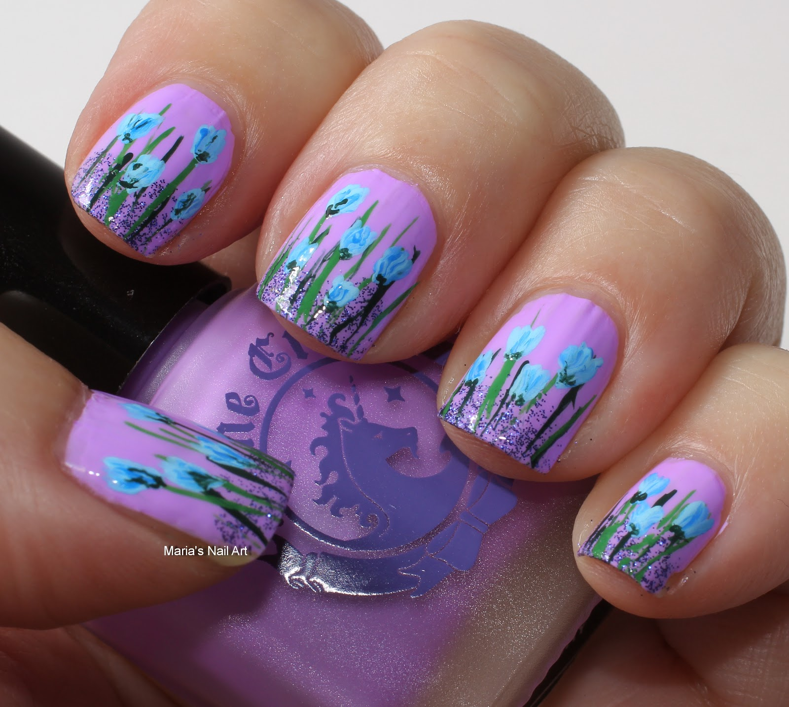 Nail Art Blue Floral: Marias Nail Art And Polish Blog: Blue Flowers In The