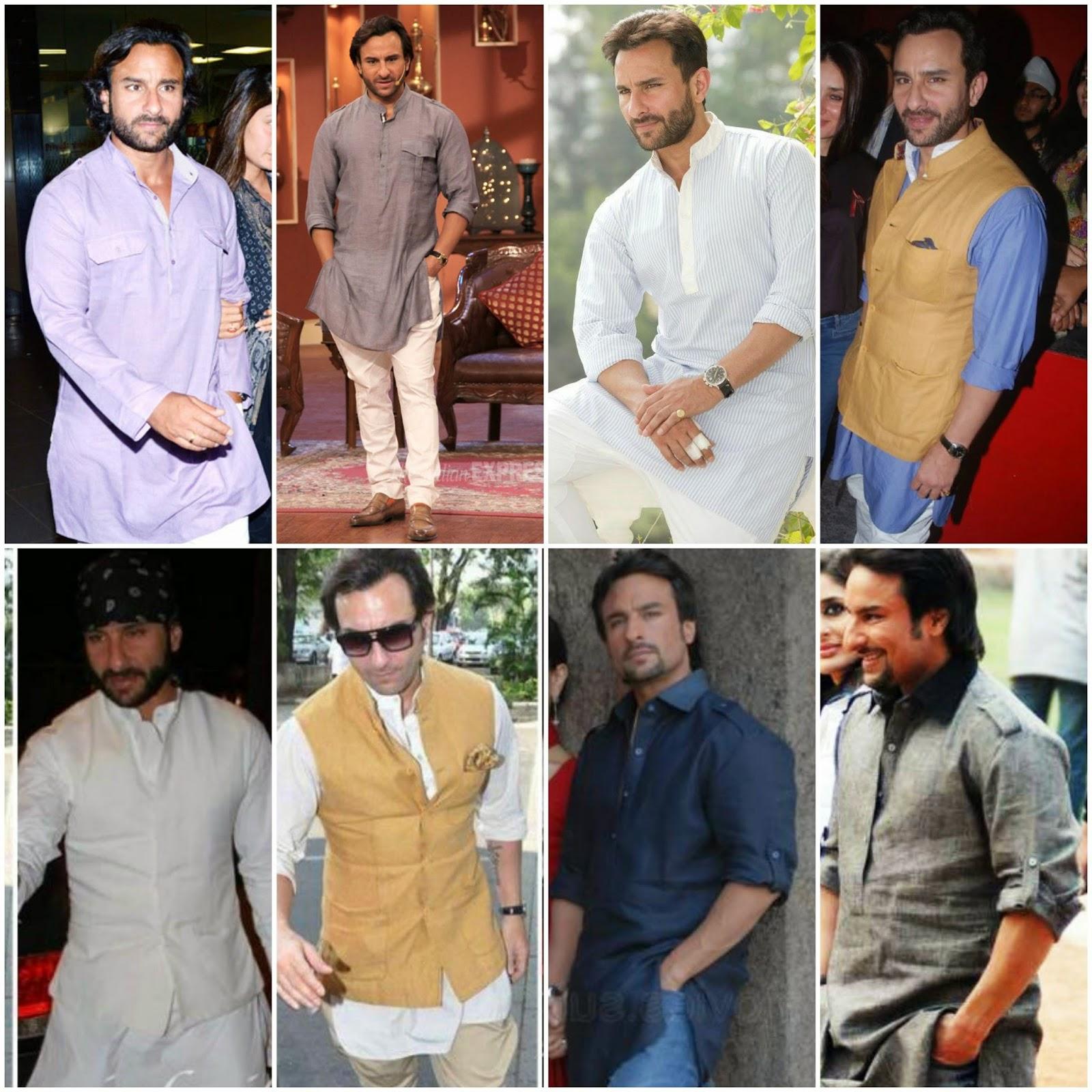 saif ali khan in kurta style , kurta style eid 2014, eid 2014, eid men wear kurta