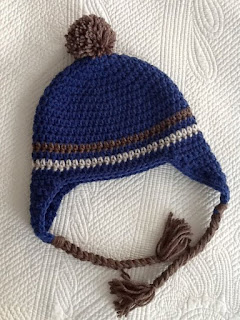 Crochet Hat with Earflaps, Blue and Brown Hat, Crochet Hat with Pompon, Little Boy Hat
