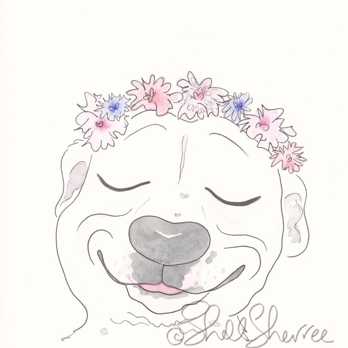 Adorable Smiling Pitbull with Flower Crown pet illustration © Shell Sherree all rights reserved