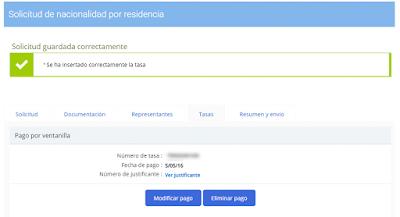 Pago de la tasa de tramitación de la solicitud de nacionalidad española por residencia.