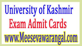 University of Kashmir UG IInd Sem 2016 Exam Admit Cards