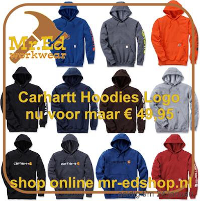 Carhartt Hooded Sweatshirt met logo €49,95 bij Mr. Ed Workwear