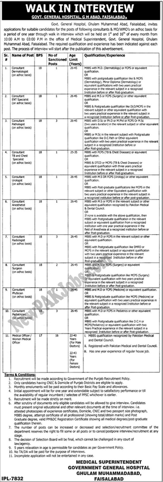 Government General Hospital Faisalabad Jobs, Walk in Interview