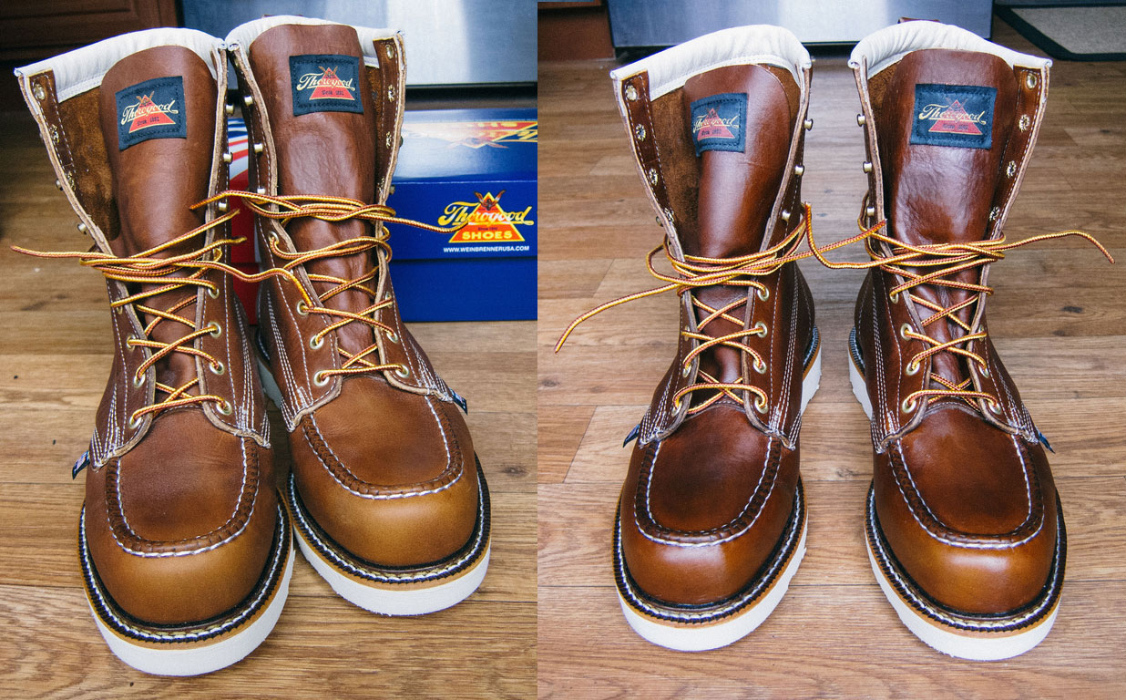 6b05e0eb6ea2 Comparison between non waxed boots and waxed boots with Sno Seal. Left  Non  Waxed Right  Waxed