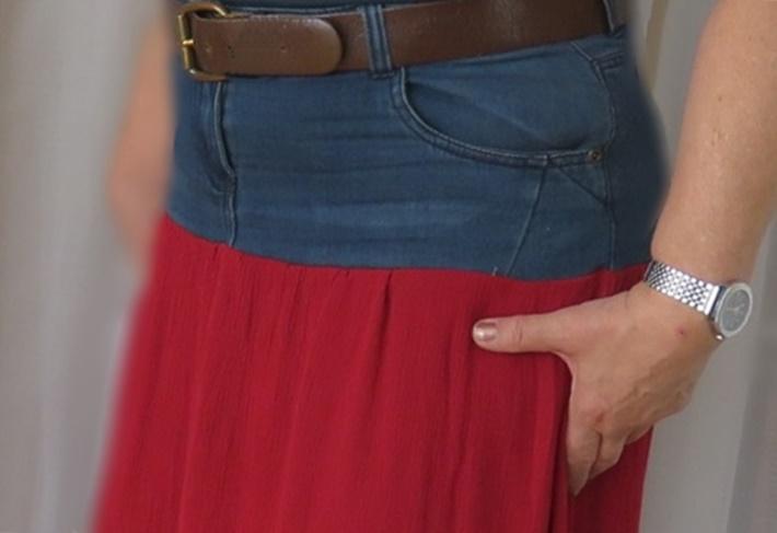 Maxirock Jeans + Rot, Refashion Projekt, DIY vonKarin