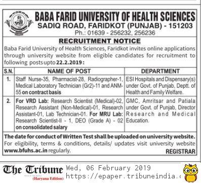 BFUHS Recruitment 2019 - Apply Pharmacist 28 post Baba Farid University of Health Sciences