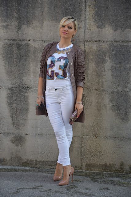 hemming white jeans outfit jeans skinny bianchi senza orlo abbinamenti jeans skinny bianchi senza orlo jeans bianchi in inverno outfit settembre 2016 outfit autunnali mariafelicia magno fashion blogger colorblock by felym web influencer italiani blogger italiane di moda fashion blogger italiane