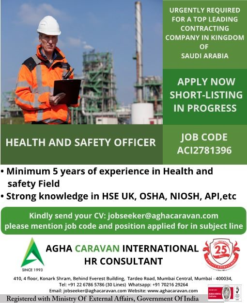 Health and safety Officer for Saudi Arabia