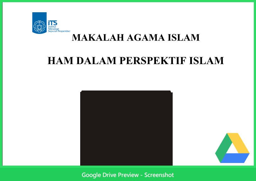 Contoh Makalah Agama Tentang Ham Dalam Perspektif Islam