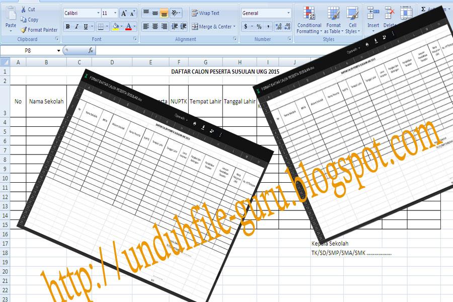 Unduh File Contoh Format Daftar Peserta Ukg Susulan 2015 Xls Soal Revisi